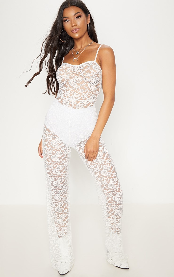 White Lace Straight Neck Jumpsuit 1
