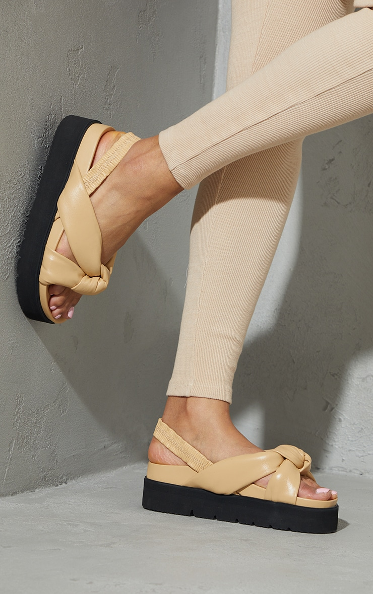 Beige Real Leather Knotted Flatfom Footbed Sandals 2