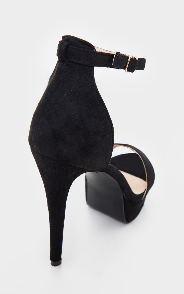 Black Faux Suede Platform Heeled Sandals 4