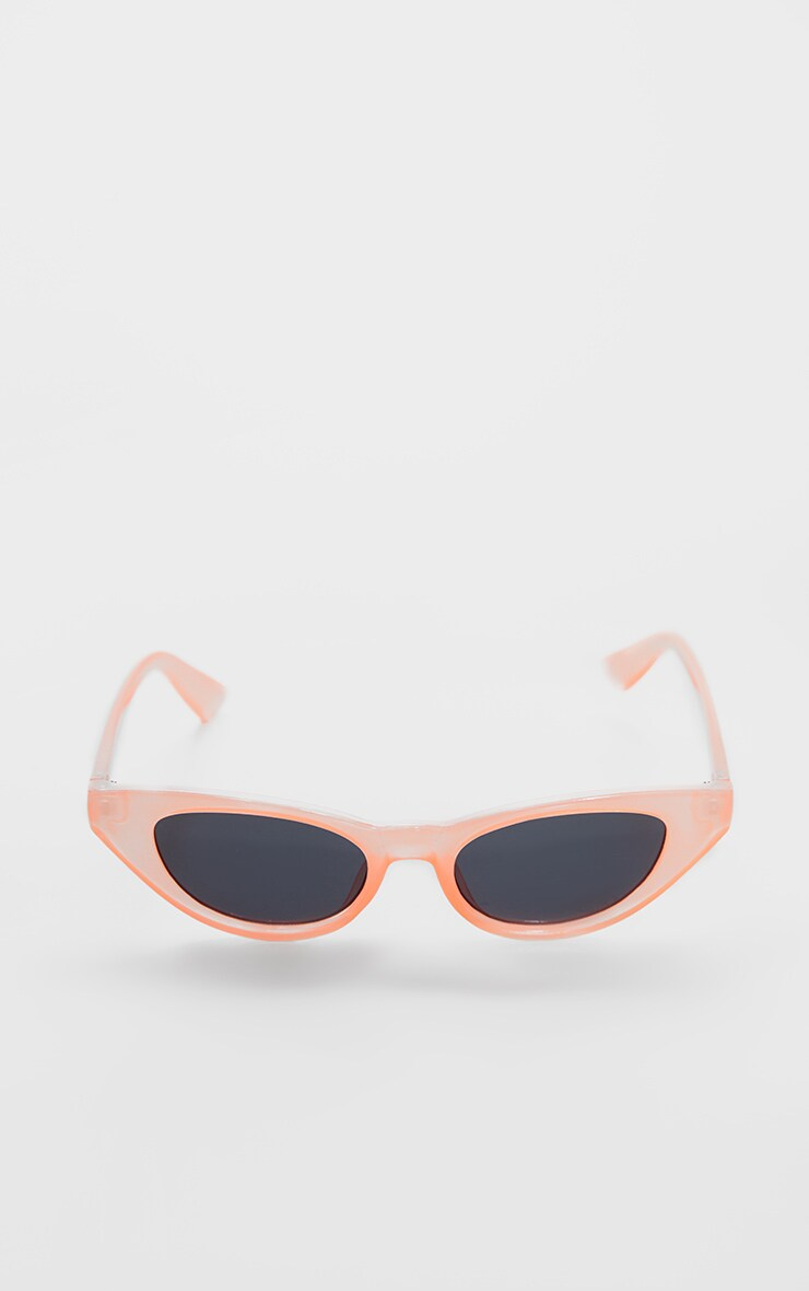 Peach Blunt Edge Slim Cat Eye Sunglasses 2