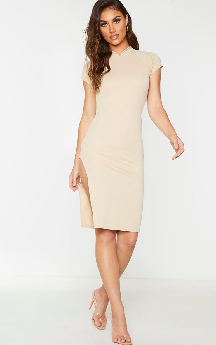 Stone Short Sleeve Oriental Detail Midi Dress 1
