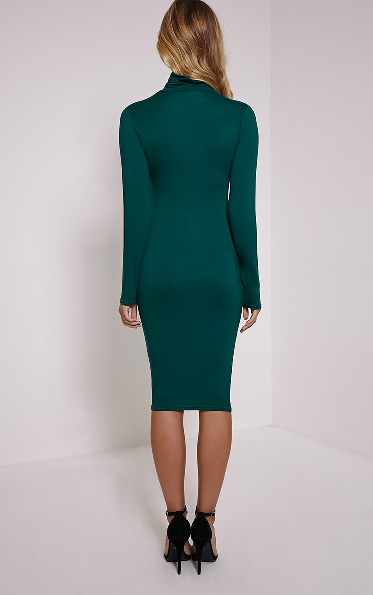 Basic Bottle Green Roll Neck Midi Dress 2