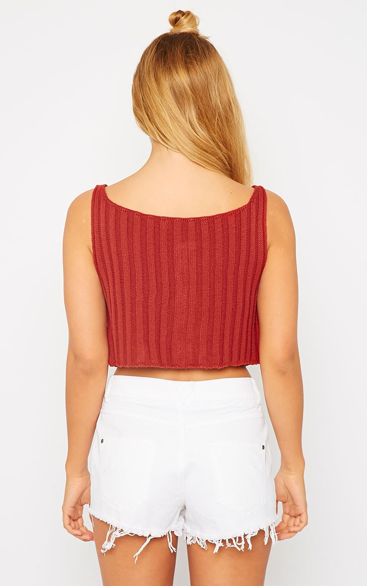 Susy Rust Knitted Cropped Vest Top 2
