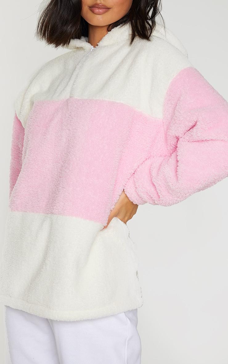 Baby Pink Borg Colour Block Zip Hoodie 4