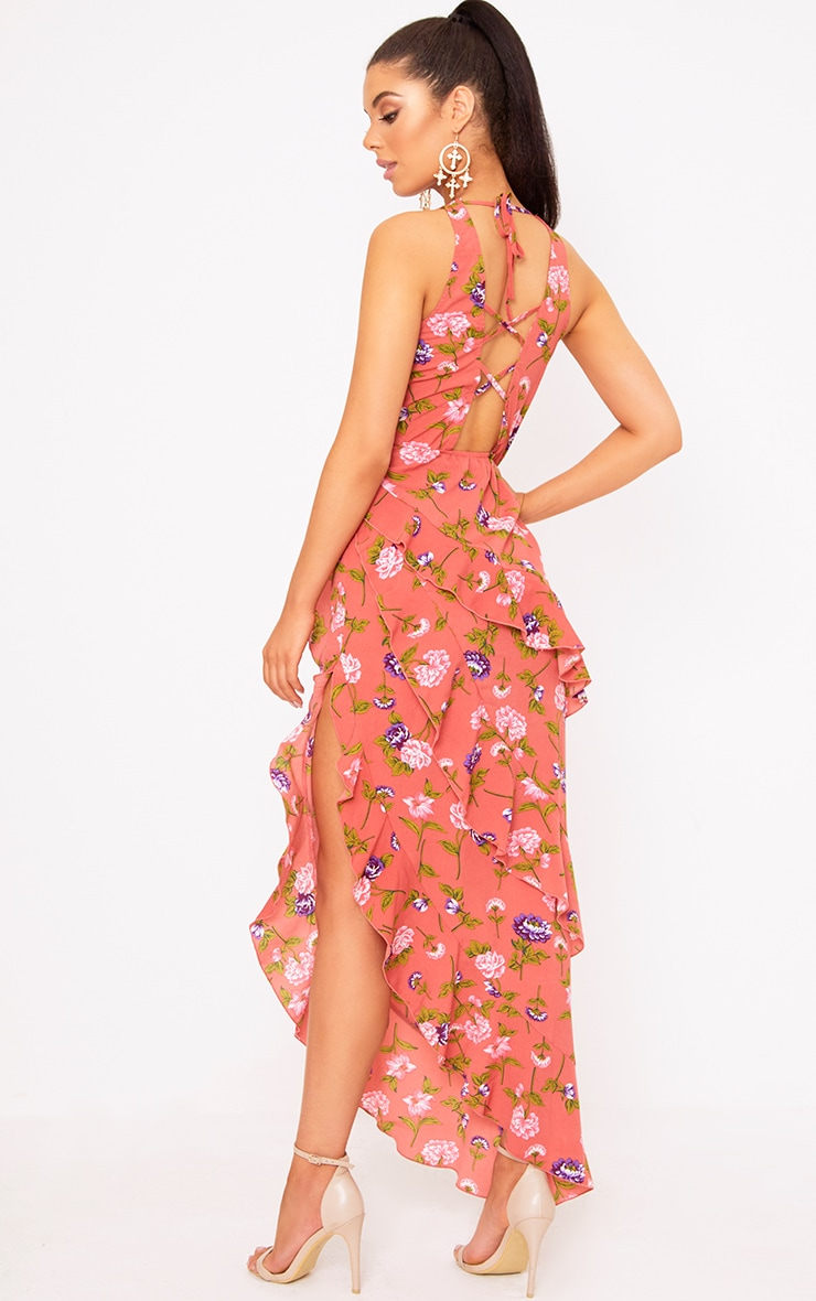 Coral Floral Plunge Maxi Dress 4