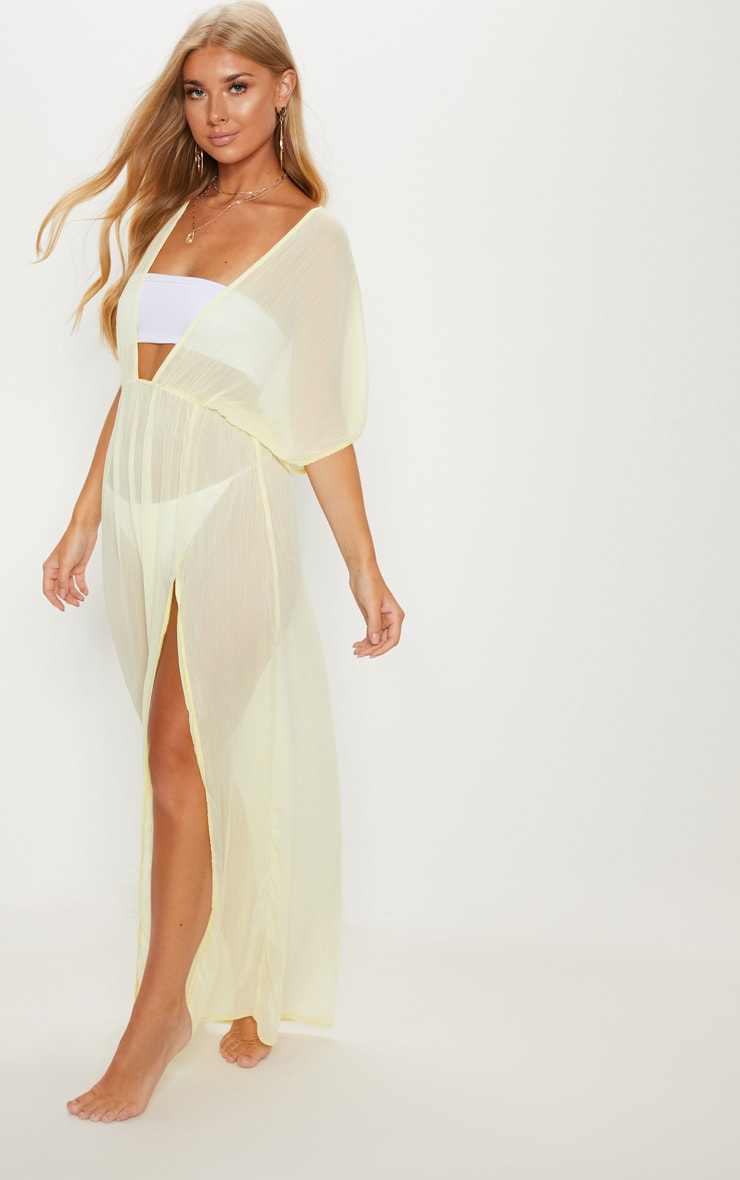 Lemon Textured Beach Dress 4
