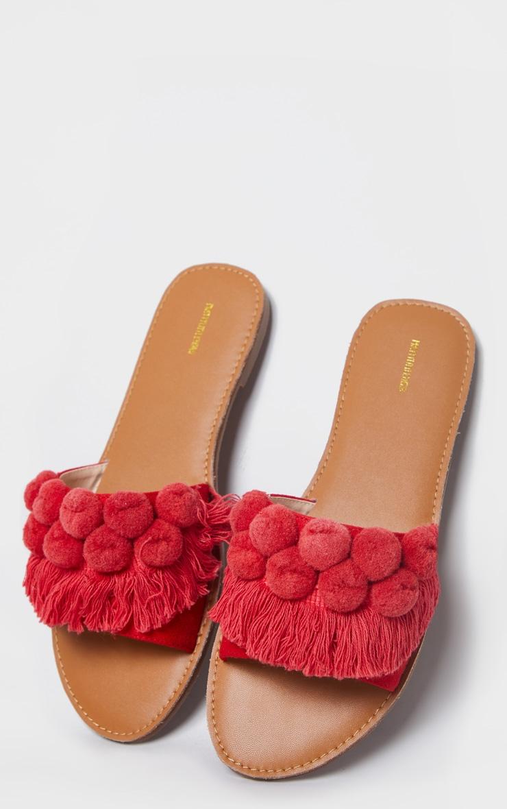 Red Pom Pom Fringe Sandal 3