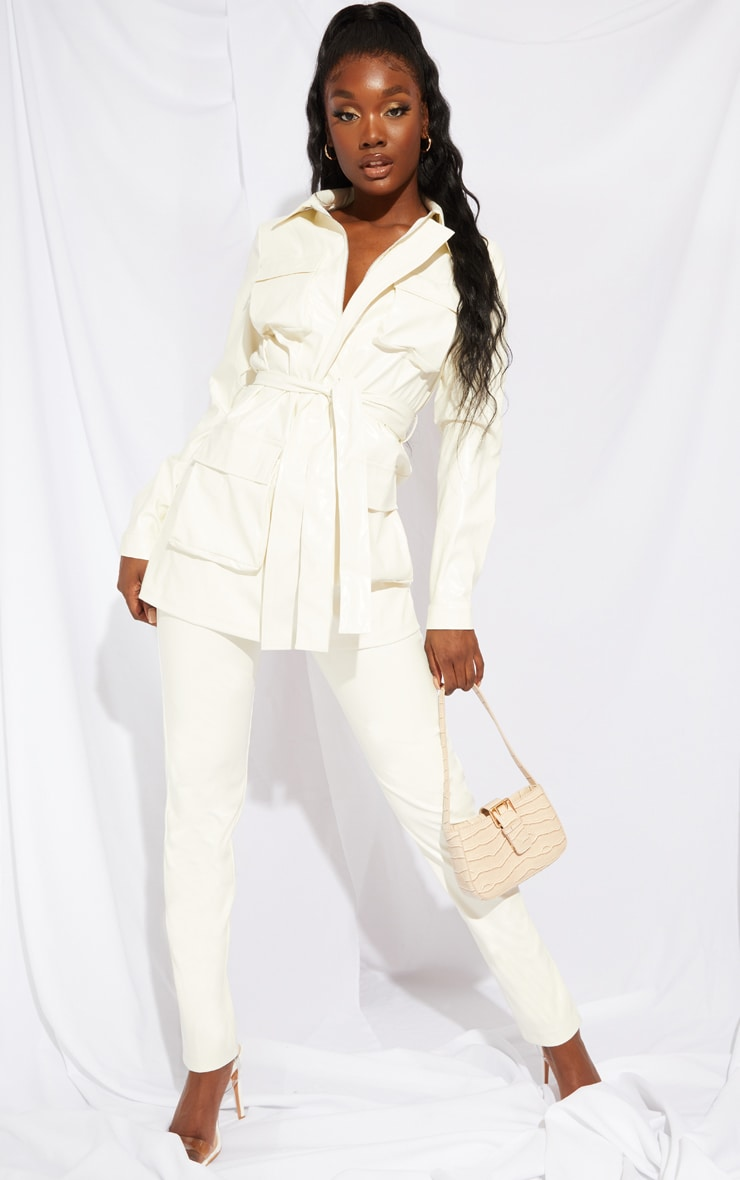 Tall White PU Trousers 1