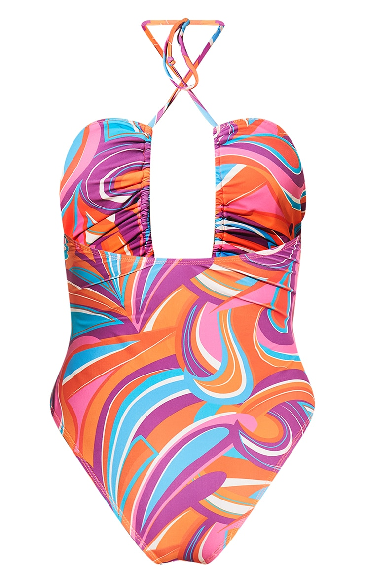 Pink Print Halterneck Ruched Swimsuit 9