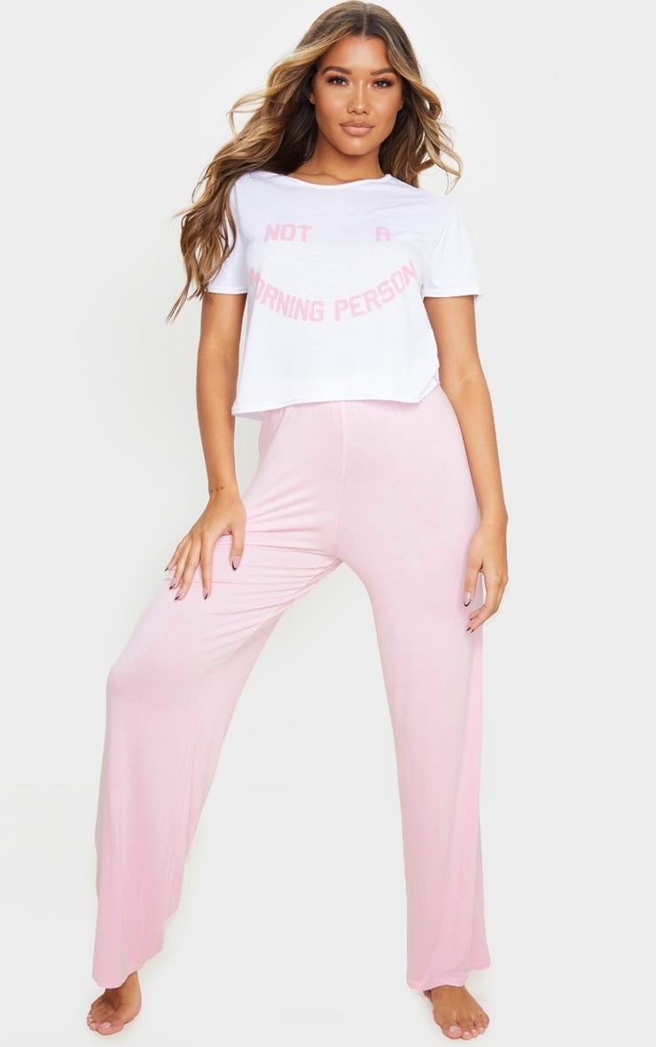 Ensemble de pyjama rose ample à imprimé Not A Morning Person 1