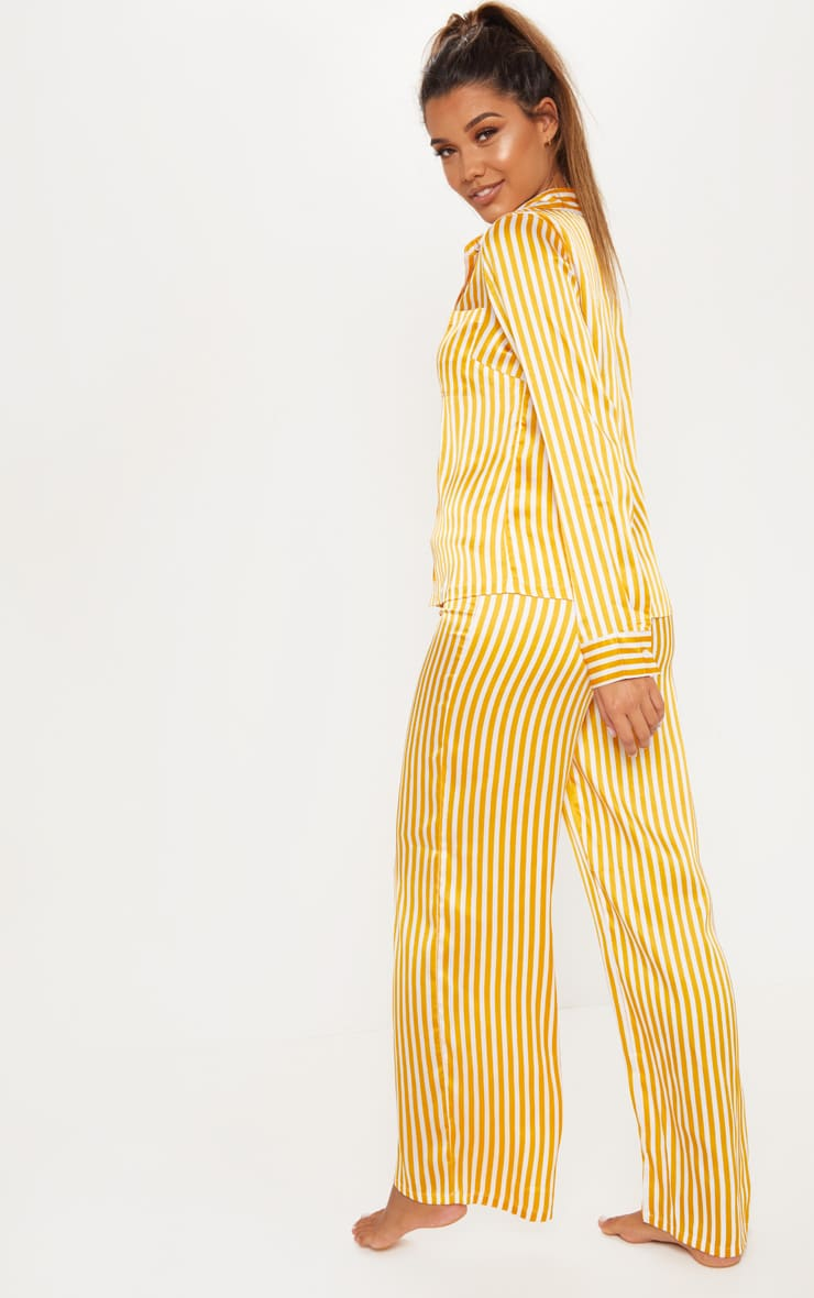 Mustard & White Stripe Satin Long Leg PJ Set 2