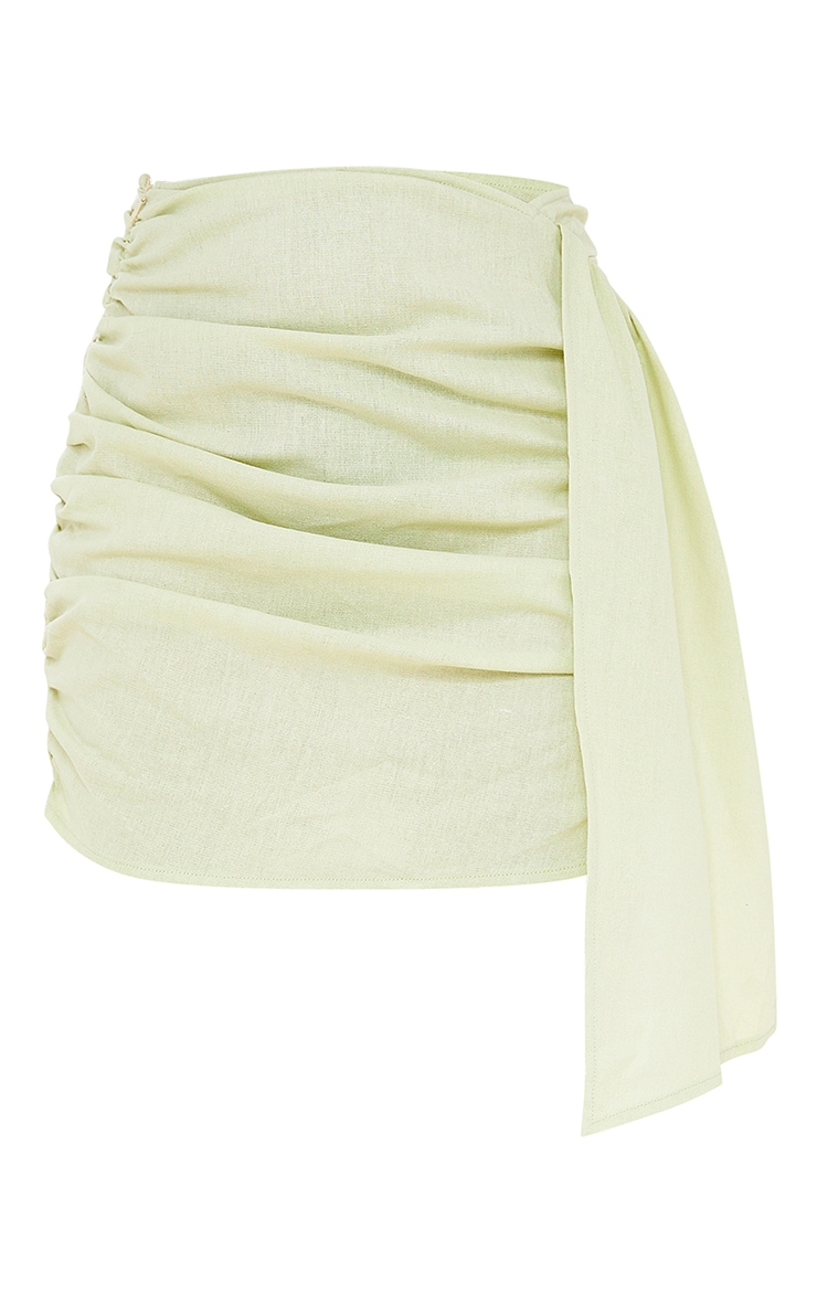 Petite Sage Green Linen Feel Ruched Side Bodycon Skirt 6