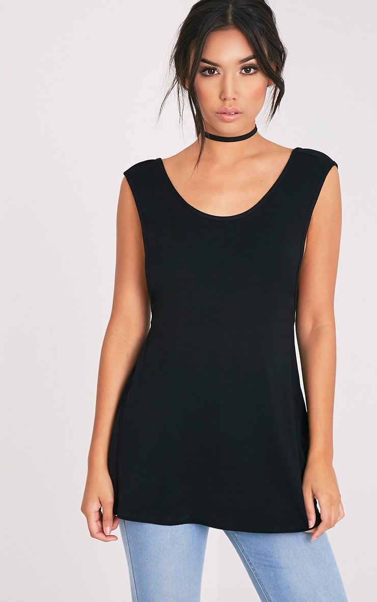 Basic Black Jersey V Back Longline Vest 4