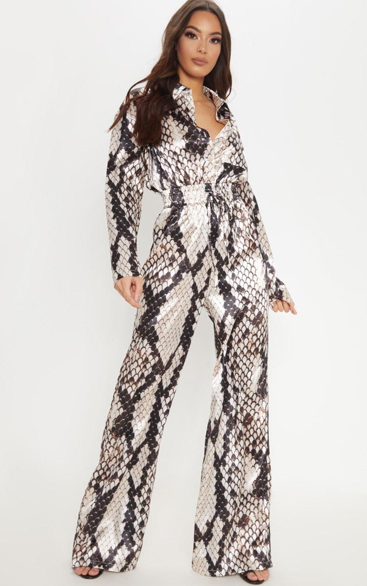3bed6dcbd3e Stone Snake Print Shirred Waist Wide Leg Jumpsuit image 1