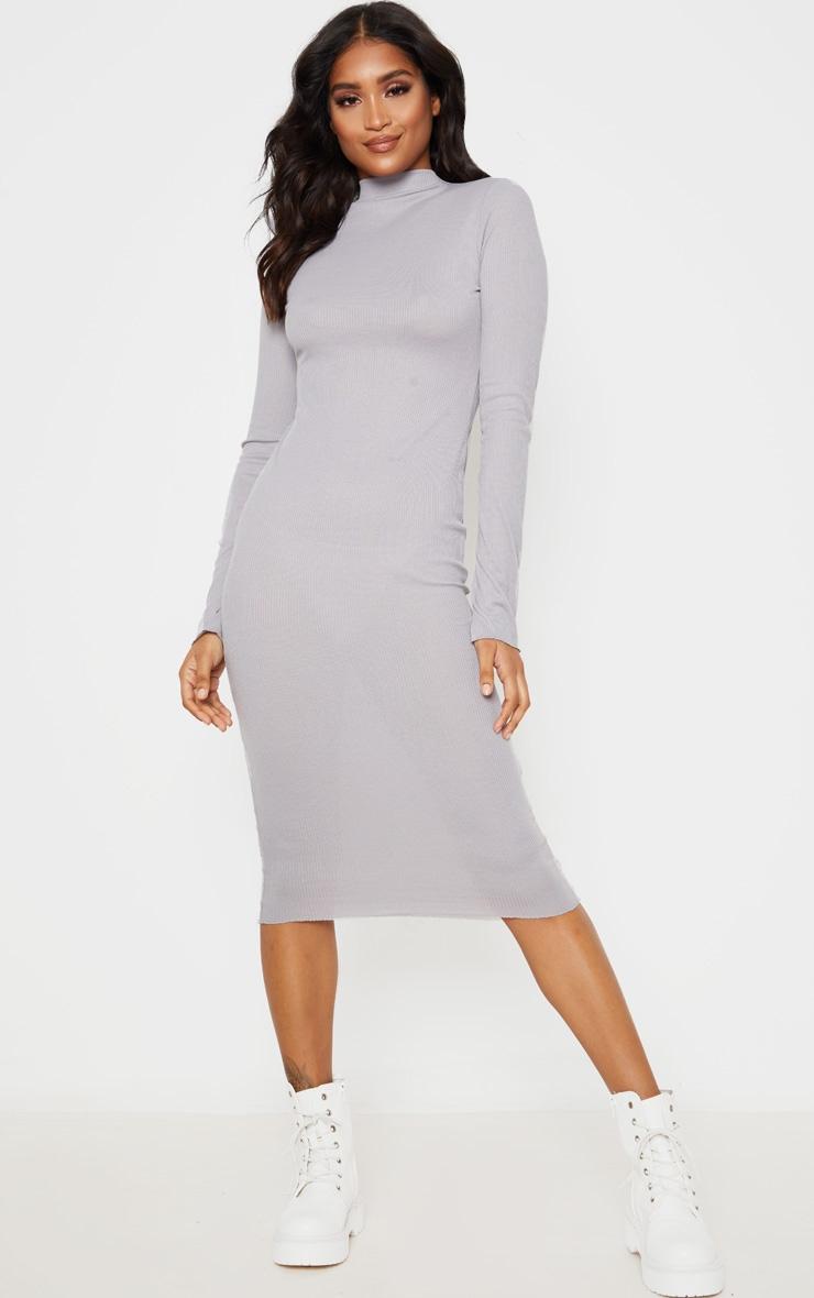 Charcoal Grey High Neck Thumb Hole Midi Dress 1