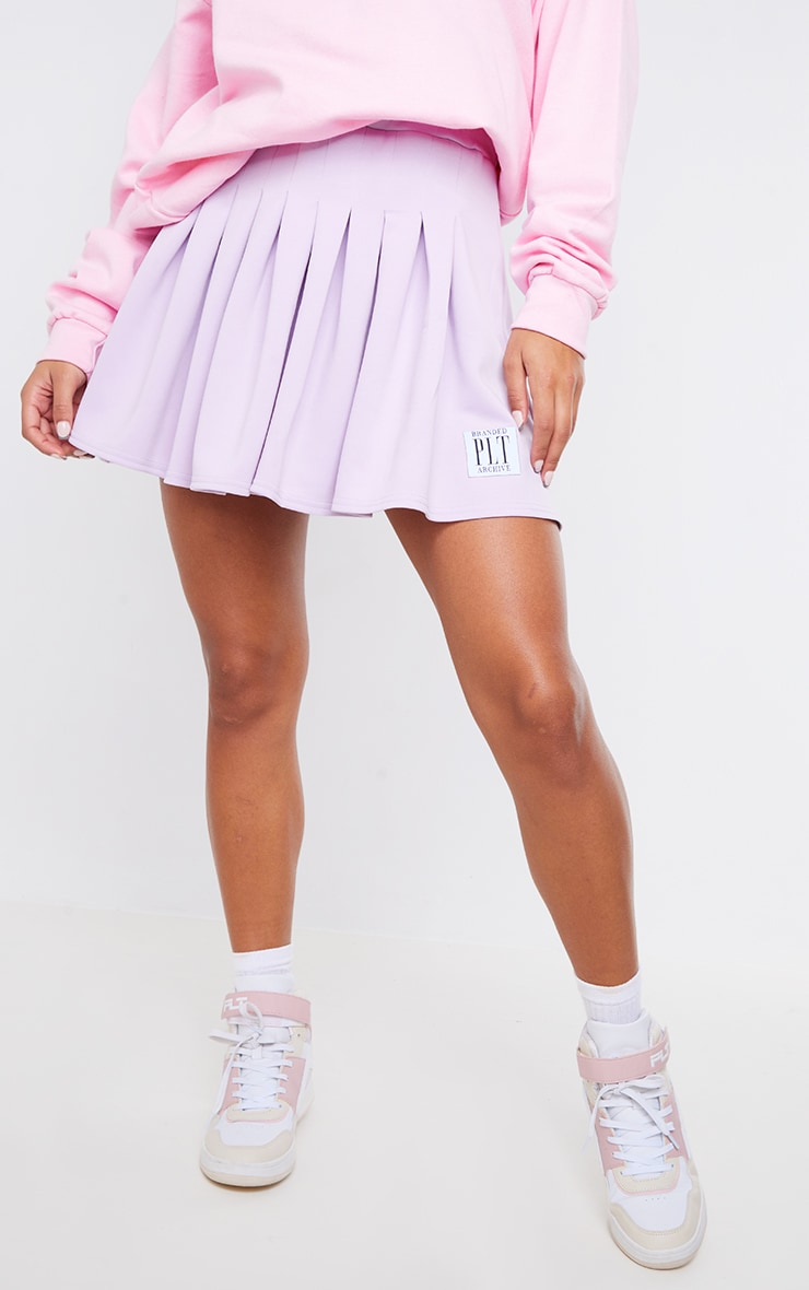 PRETTYLITTLETHING Lilac Badge Pleated Skater Skirt 2