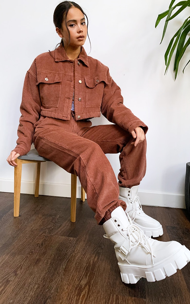 Rust Cord Borg Lined Cropped Trucker Jacket 3