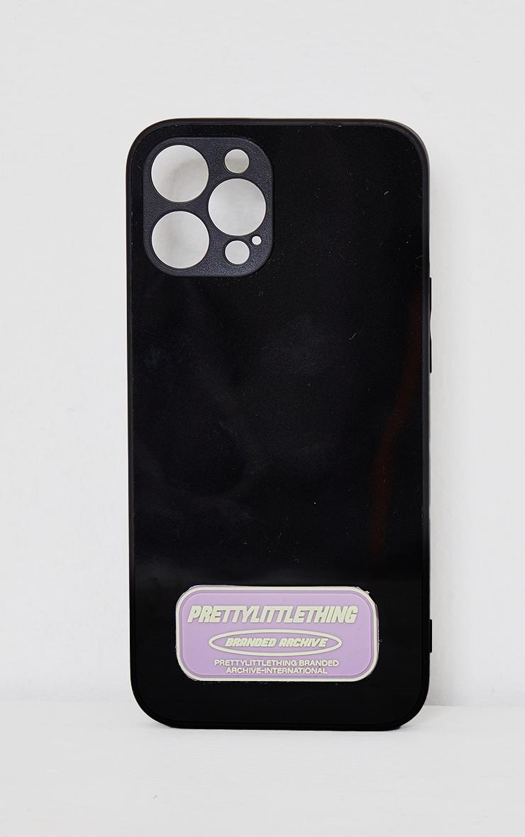 PRETTYLITTLETHING - Coque noire à imprimé Branded Archive pour iPhone 12 Pro Max 1