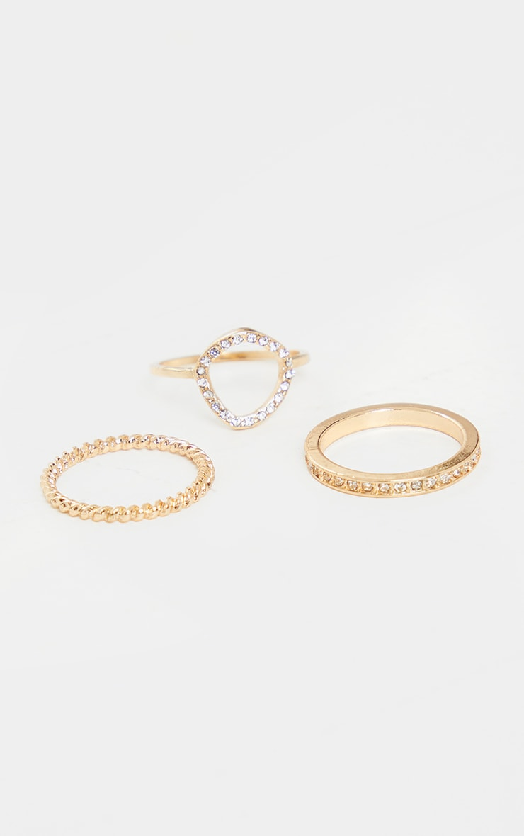 Gold Diamante Assorted Three Pack Rings 2