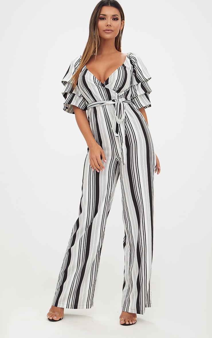 White Striped Frill Sleeve Jumpsuit 1