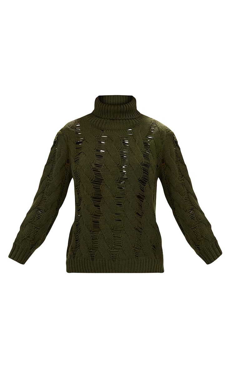 Khaki Roll Neck Distressed Knitted Jumper  3