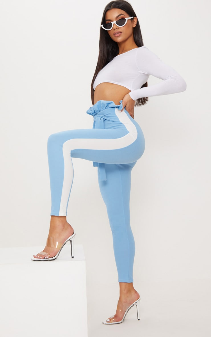Blue Side Stripe Paperbag Skinny Pants 1