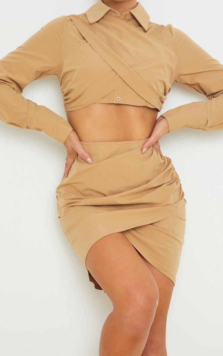 Camel Drape Cross Front Cut Out Long Sleeve Shirt Dress 4