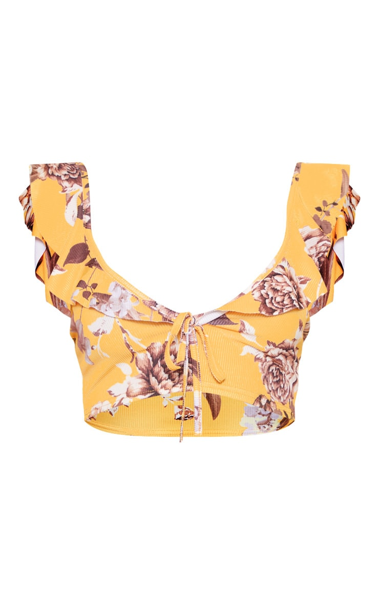 Mustard Floral Printed Rib Frill Plunge Sleeveless Tie Front Crop Top 4