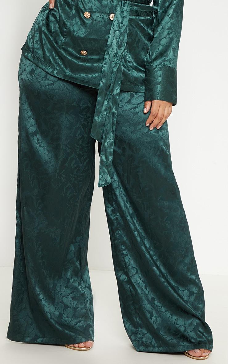 Plus Emerald Green Satin Jacquard Wide Leg Trouser 4