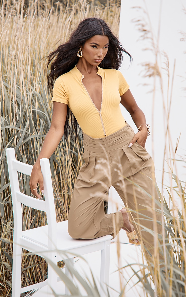Mustard Structured Contour Ribbed Zip Front Short Sleeve Bodysuit 1