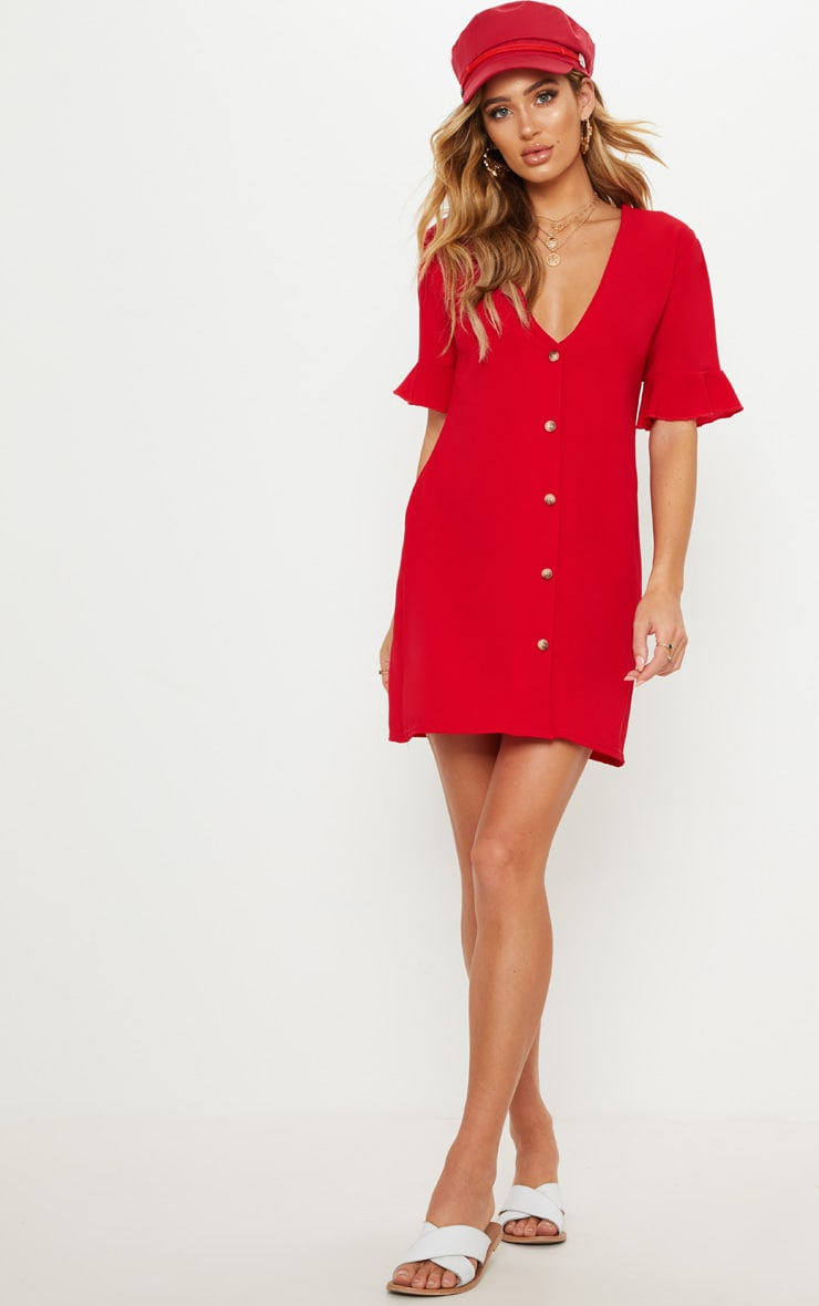 Red Oversized Button Front Shirt Dress 4