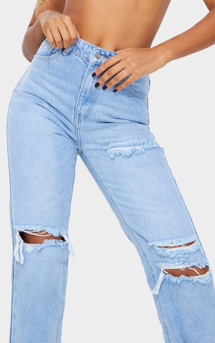 PRETTYLITTLETHING Light Blue Wash Distressed Long Leg Straight Jeans 4