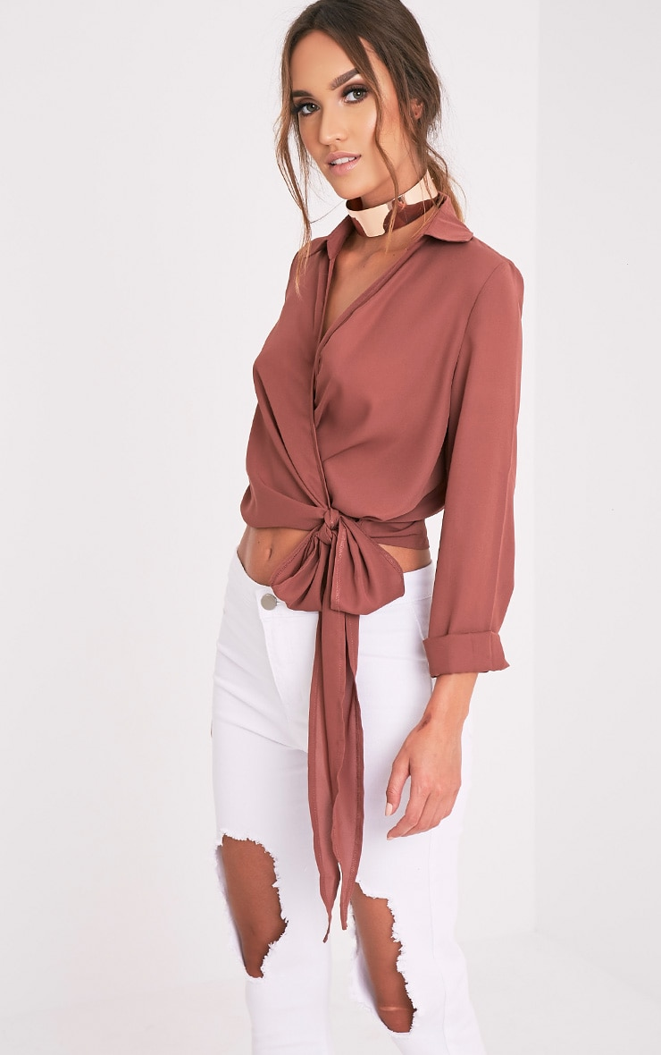 Avalyn Dark Rose Wrap Front Tie Side Blouse 9
