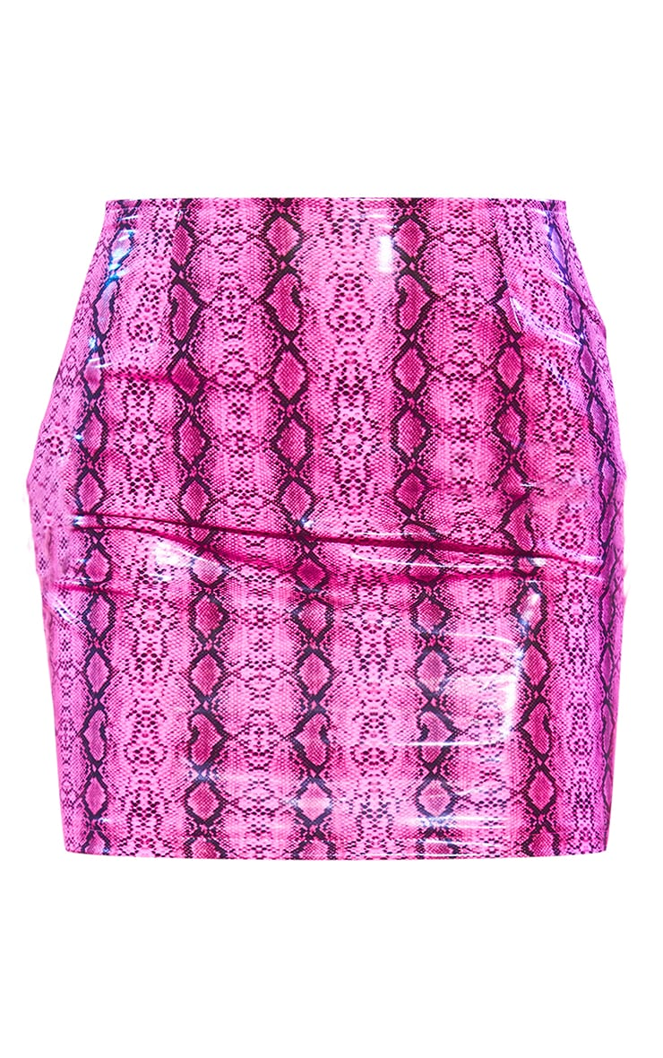 Neon Pink Faux Leather Snake Print Tie Detail Mini Skirt 6