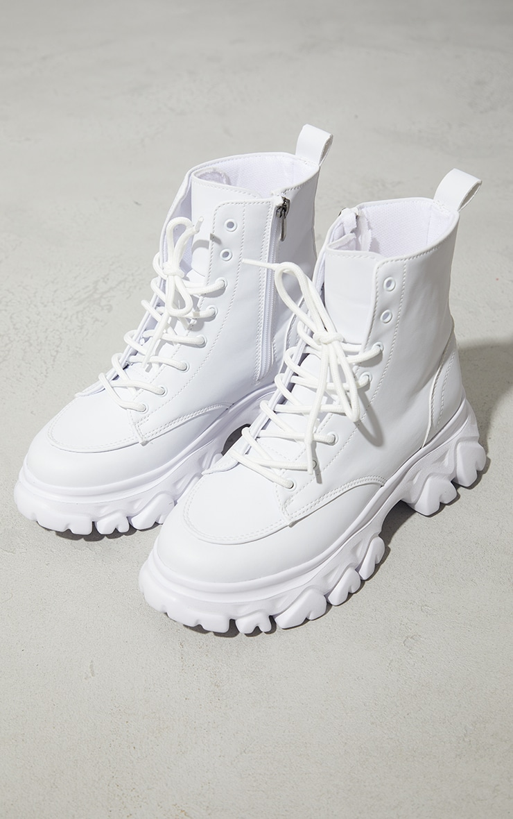 White PU Lace Up  Ankle Chunky Sole Hiker Trainers 3