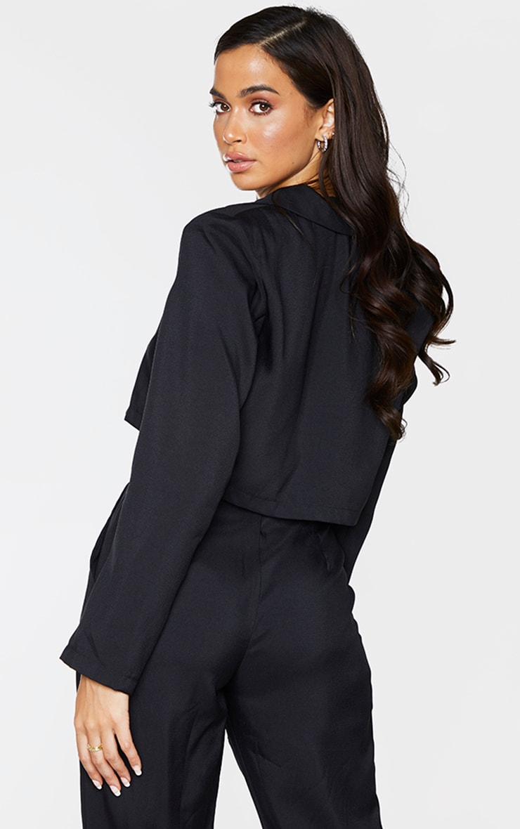 Black Button Front Cropped Blazer 2