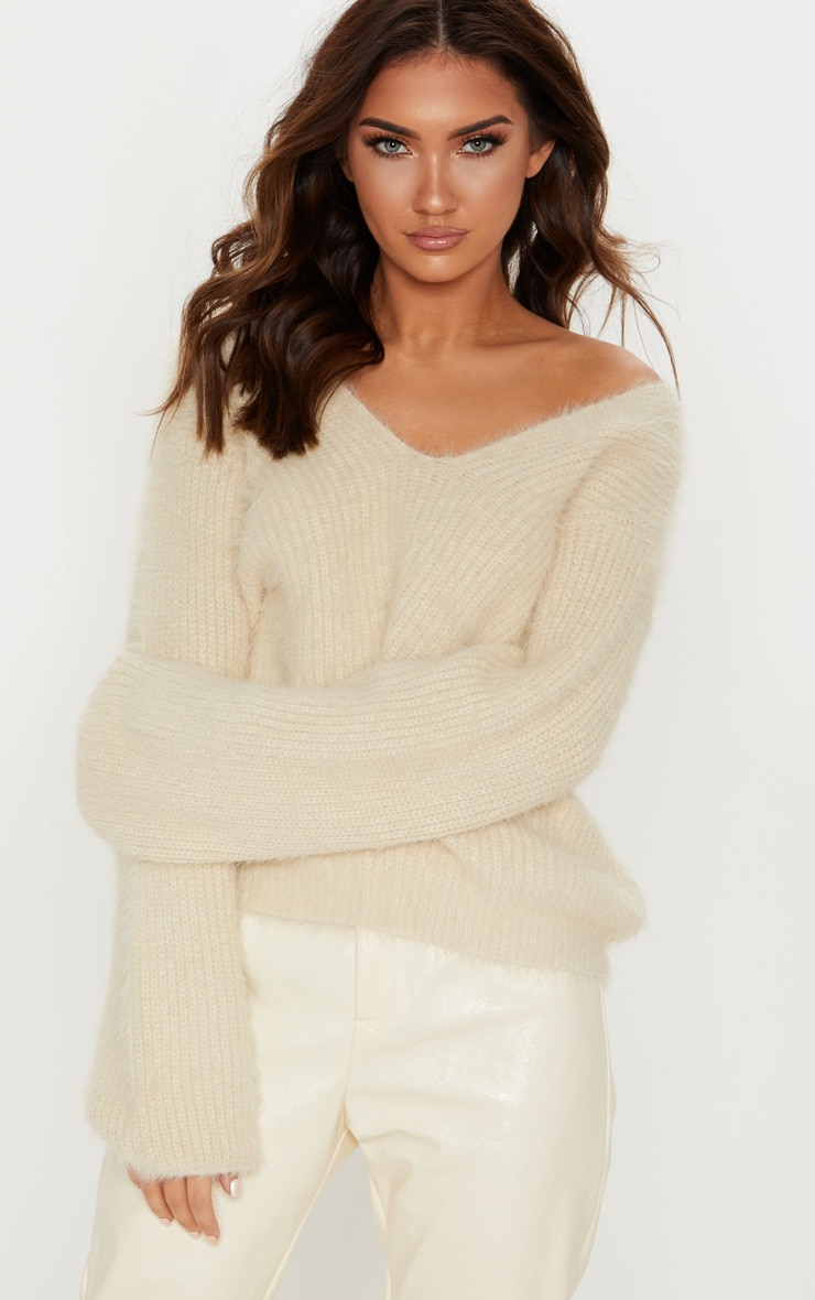 Cream Eyelash Knitted Sweater 1