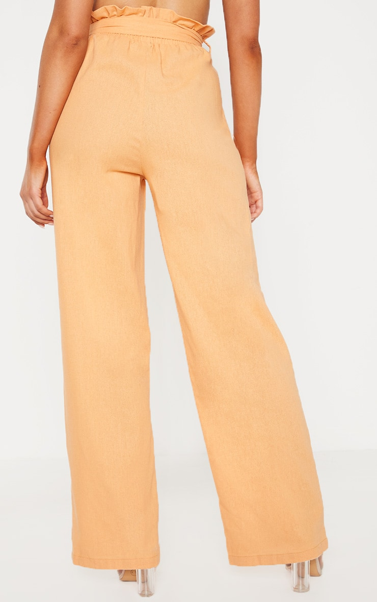 Peach Paperbag Waist Flare Linen Mix Pants 4