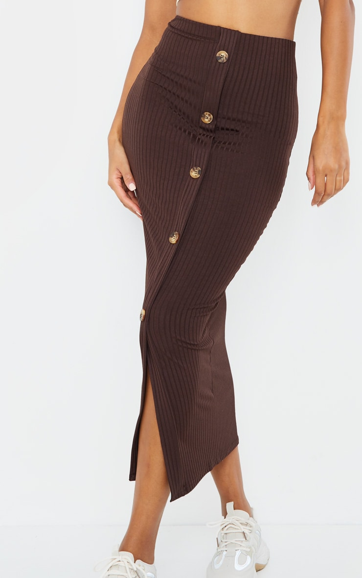 Chocolate Button Front Midaxi Skirt 4