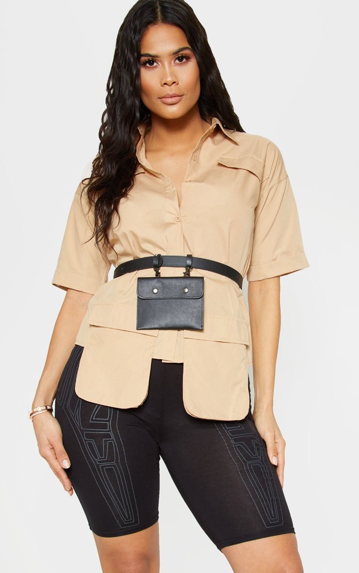 Beige Cargo Pocket Short Sleeve Shirt 1