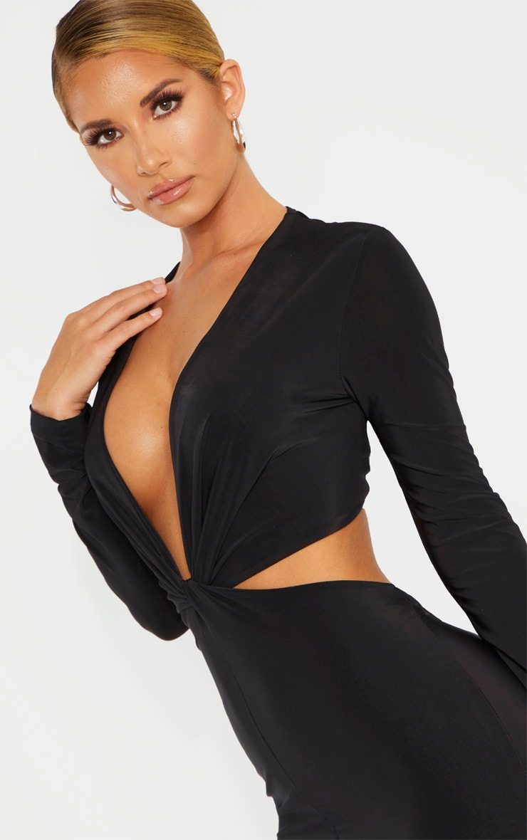 Black Slinky Knot Front Cut Out Bodycon Dress 5