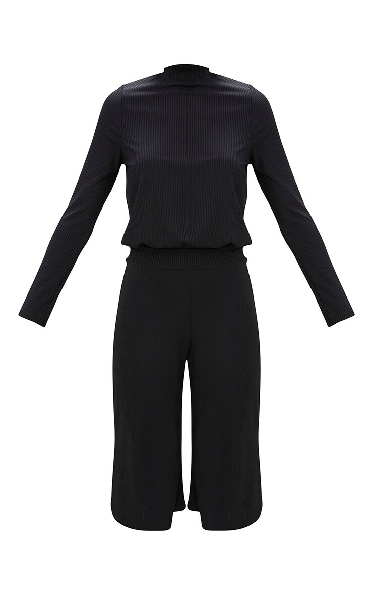 Black Ribbed High Neck Culotte Jumpsuit  3