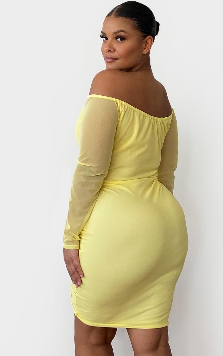 Plus Lemon Mesh Ruched Bardot Midi Dress 2