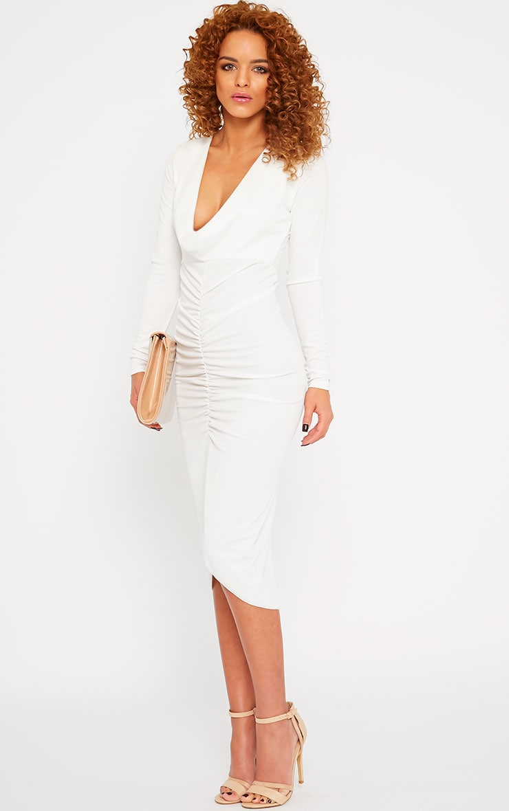 Zoey Cream Ruched Midi Dress 3