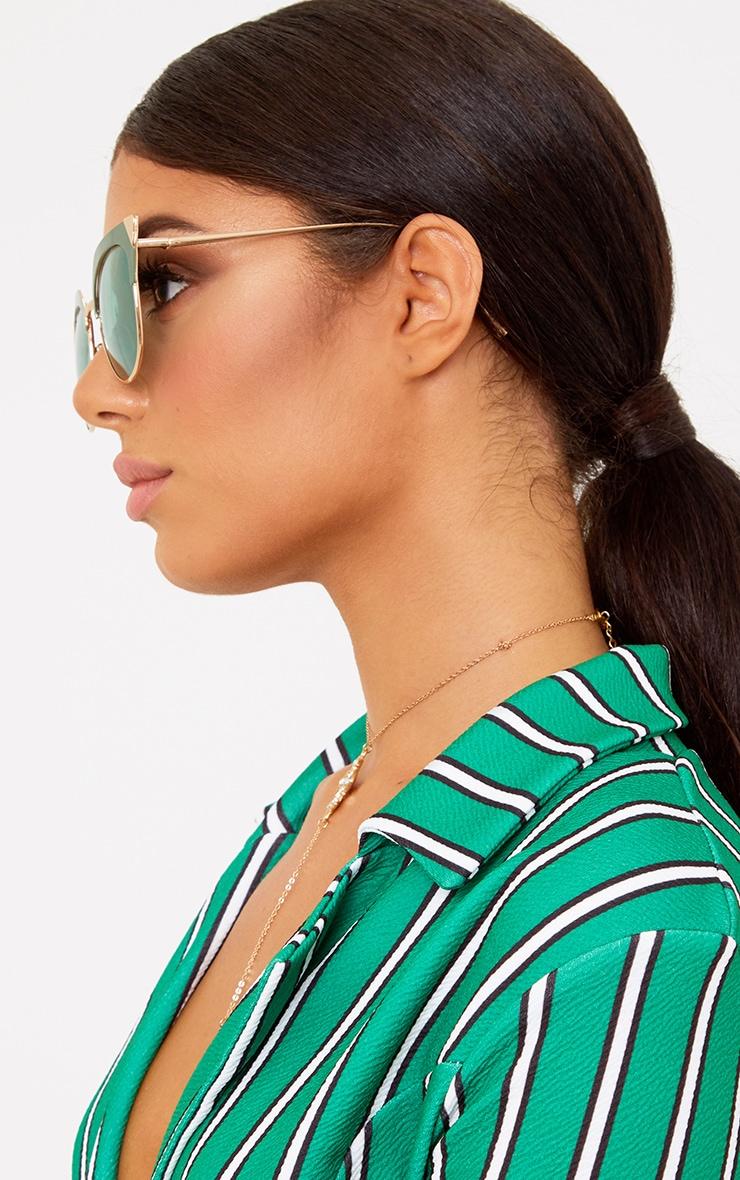 Green Retro Cat Eye Sunglasses 2