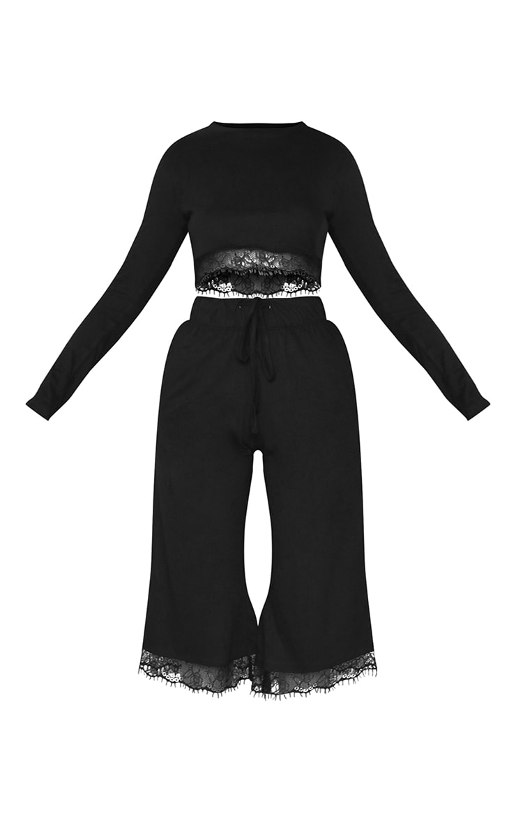 Black Lace Trim Long Sleeve Top And Cullotte Trouser Lounge Set 5