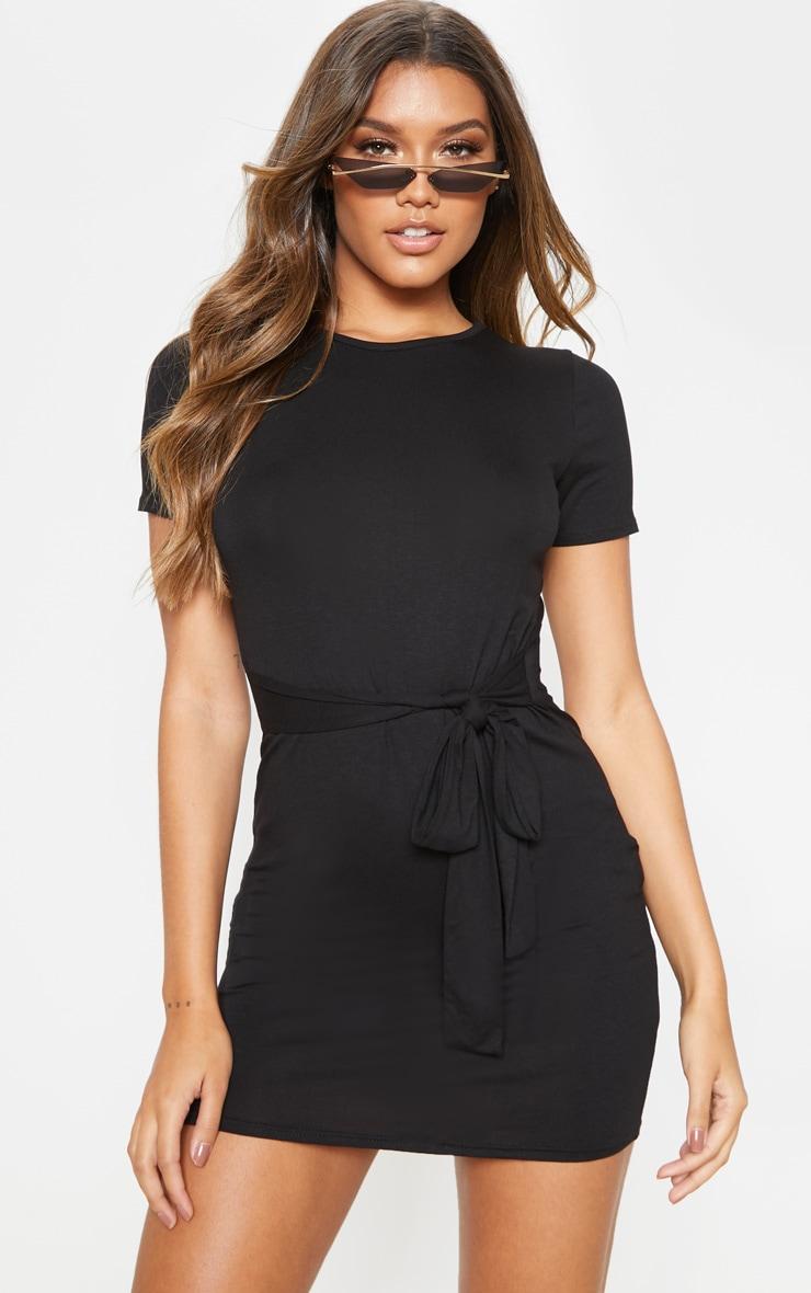 Black T Shirt Tie Waist Dress 1