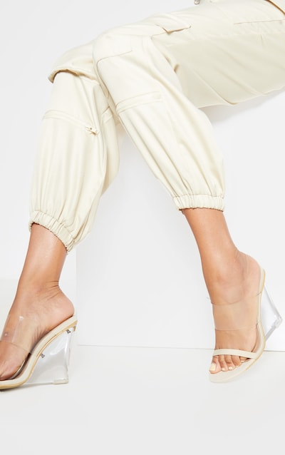 Nude Clear Wedge Mule Sandal