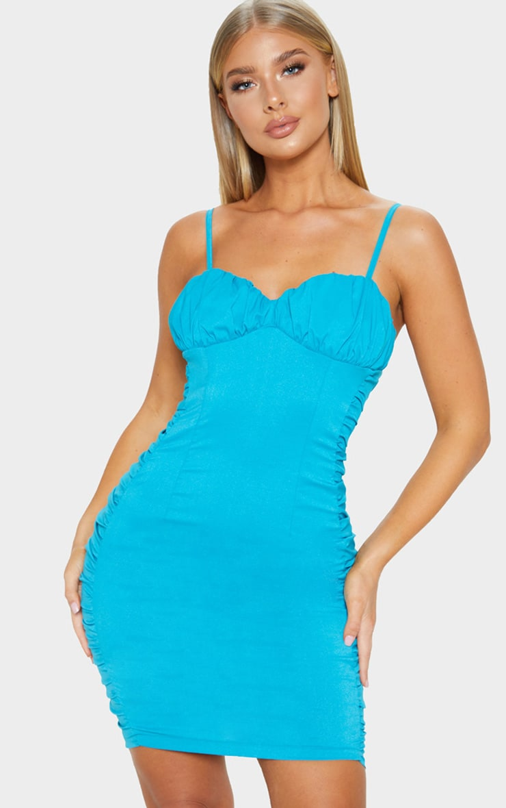 3ed3d8e9ebaa Turquoise Ruched Side Strappy Bodycon Dress image 1