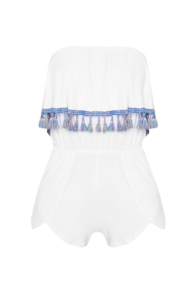 White Jersey Contrast Tassel Bandeau Playsuit 3